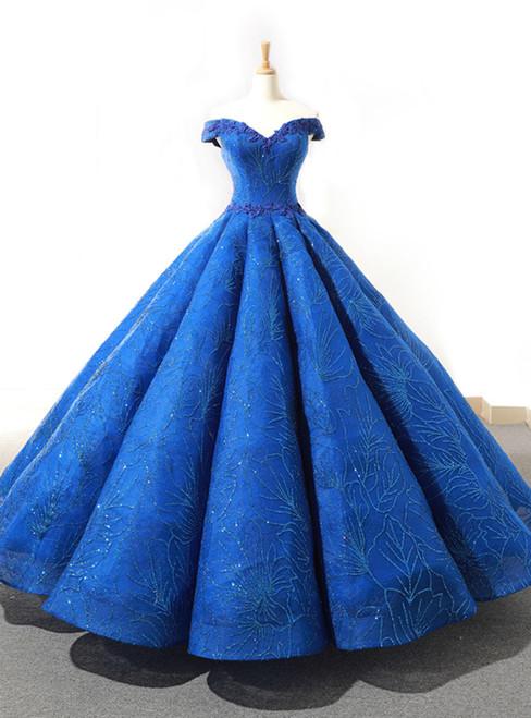 Blue Ball Gown Sequisn Appliques Off The Shoulder Wedding Dress
