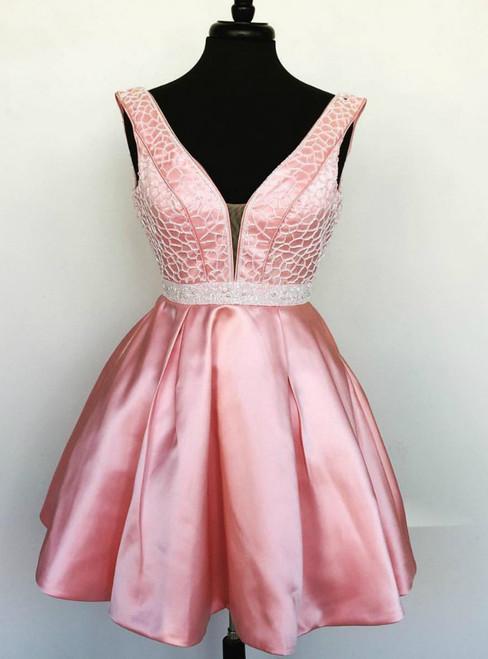Deep V neck Pink Satin Beaded Waist Short Homecoming Dresses