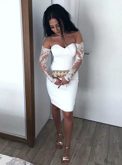 Sheath White Satin Lace Long Sleeve Off The Shoulder Cocktail Dress