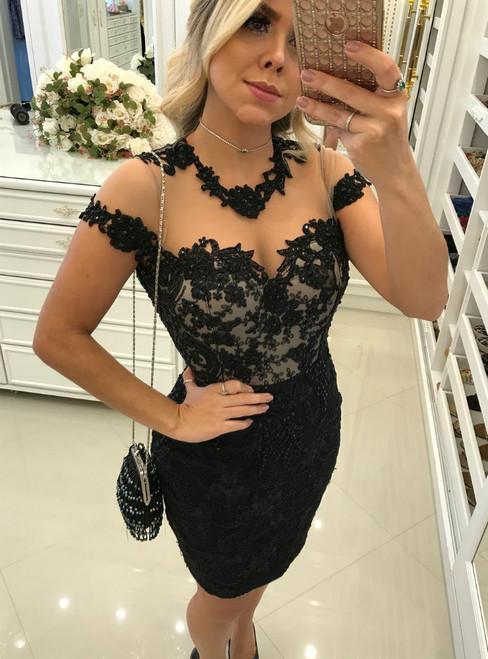 eaaafbb04b Sheer Back Short Sleeves Sheath Little Black Lace Dresses