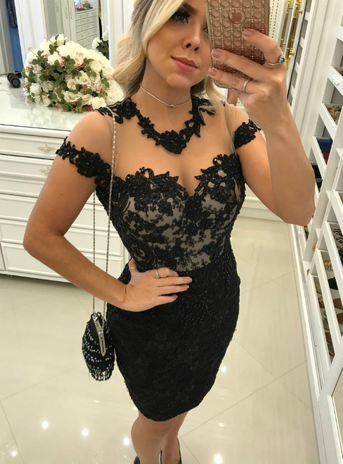 Sheer Back Short Sleeves Sheath Little Black Lace Dresses