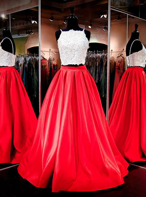 Red Satin Princess A Line Evening Prom Formal Gowns With Pocket