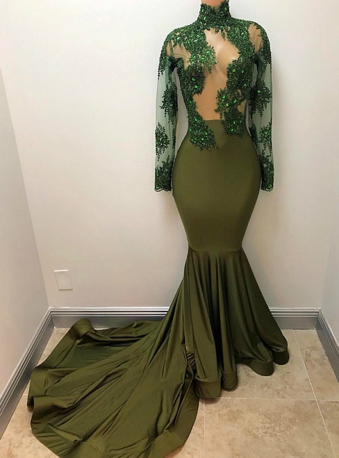 African Mermaid Green Sheer Corset Long Sleeves Evening Dress