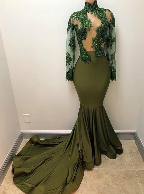 African Mermaid Green Sheer Corset Long Sleeves Evening Dress