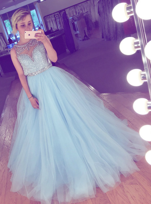A-Line Blue Tulle Long Prom Dress With Crystals And Sequins