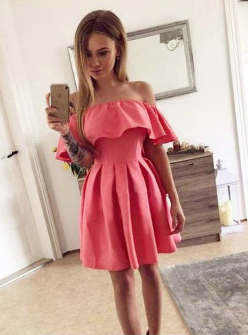 A-Line Off the Shoulder Pink Satin Pleated Homecoming Dress