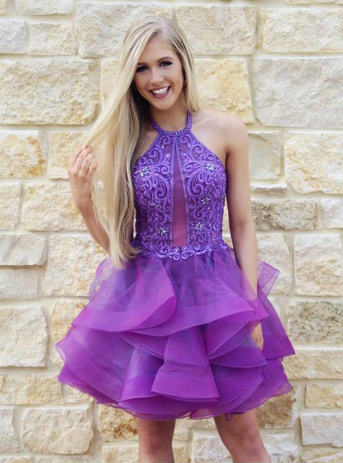A-Line Purple Tulle Halter Homecoming Dress With Lace Beading