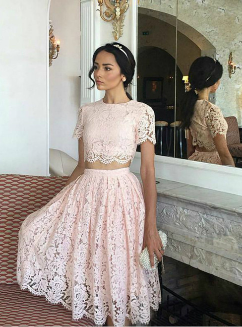 A-Line Pink Lace Two Piece Lace Short Homecoming Dresses