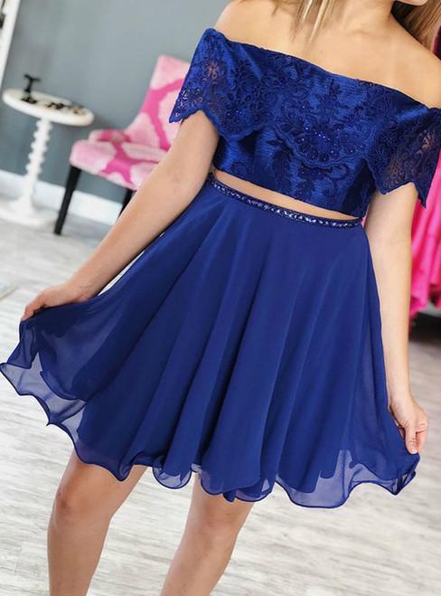 Two Piece Royal Blue Lace Off Shoulder Chiffon Homecoming Dress
