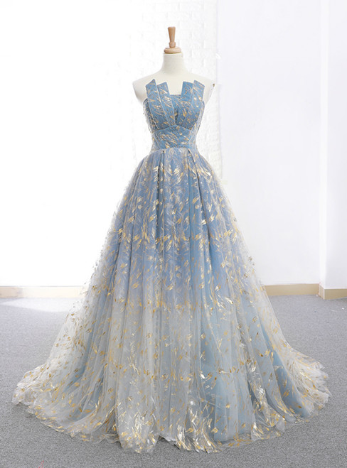 A-Line Blue Tulle Strapless Neck Floor Length Wedding Dress