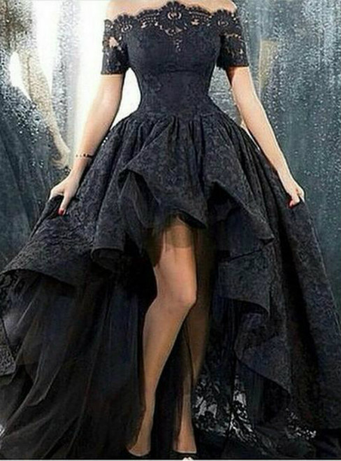 Vintage Black Party Dresses Short Sleeves Lace High Low Prom Dress