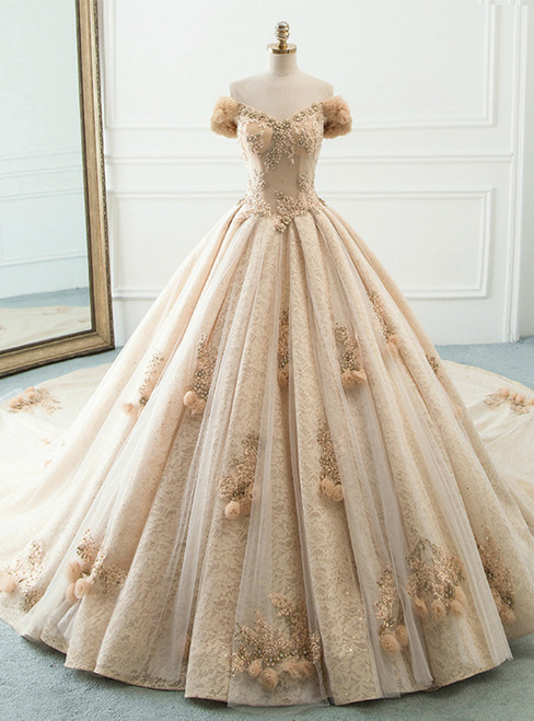 Champagne Tulle Sequins Off The Shoulder With Long Train Wedding Dress