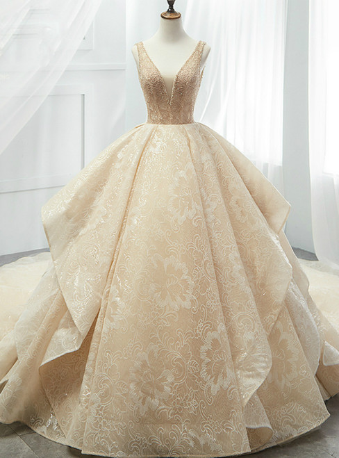 Champagne Ball Gown Lace Tulle Sequins V-neck Backless Wedding Dress