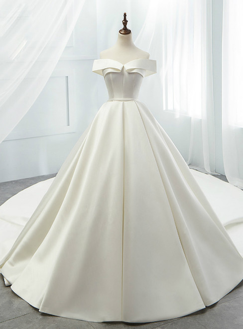 White Ball Gown Satin Off The Shoulder Wedding Dress With Long Train