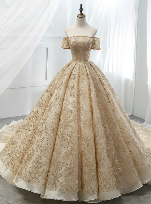 Gold Ball Gown Tulle Sequins Off The Sholuder Short Sleeve Wedding Dress