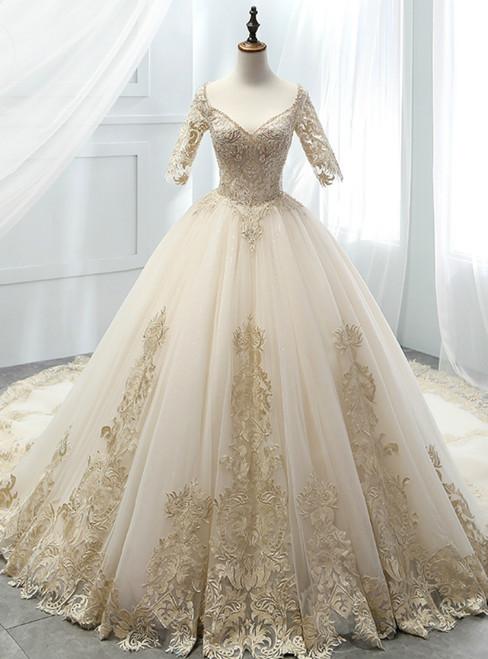 Champagne Tulle Short Sleeve V-neck Appliques Wedding Dress