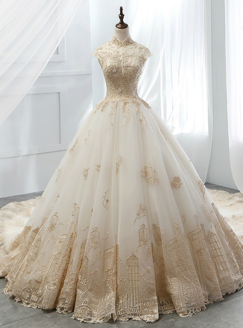 White Ball Gown Tulle Gold Lace Appliques High Neck Wedding Dress