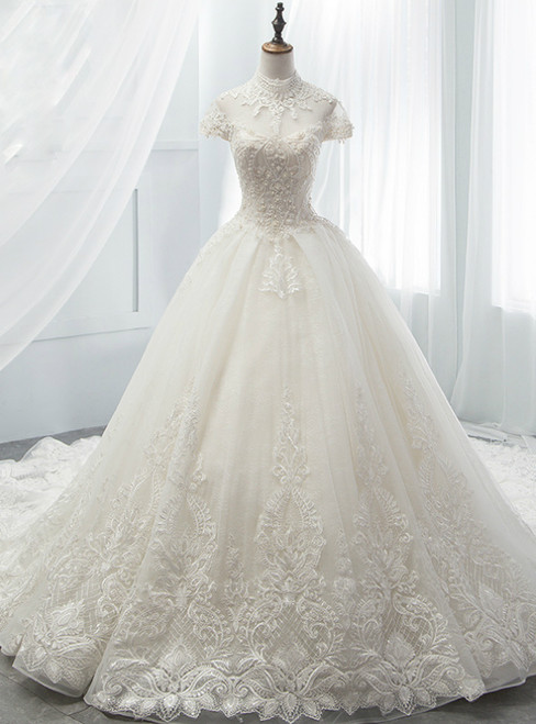 White Ball Gown Tulle Lace High Neck Cap Sleeve Wedding Dress