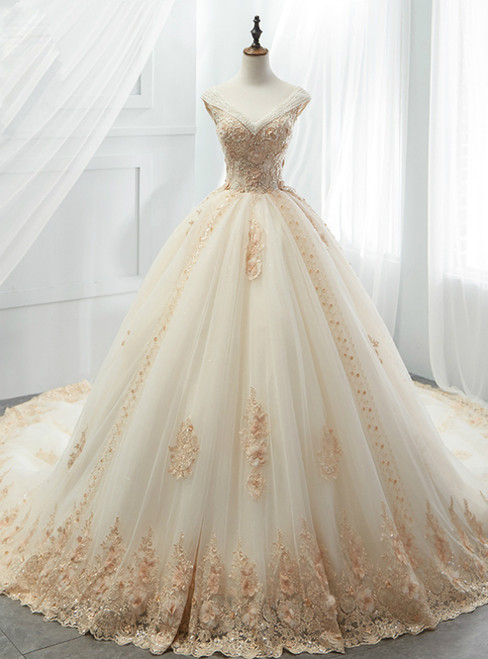 Champagne Tulle Ball Gown Off The Shoulder Appliques Wedding Dress