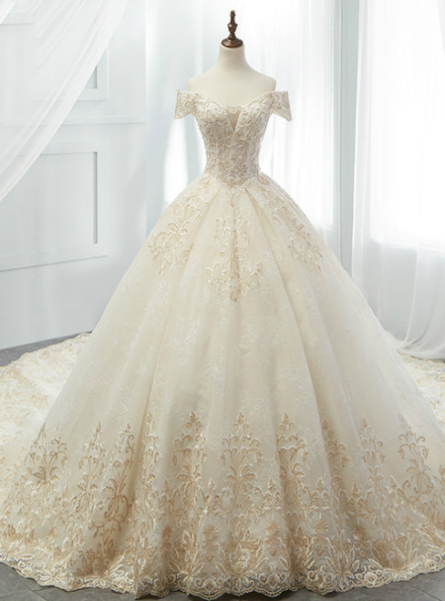 Luxury Champagne Ball Gown Tulle Appliques Off The Shoulder Wedding Dress