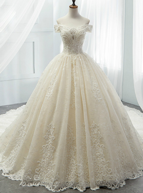 Champagne Ball Gown Tulle Lace Appliques Off The Shoulder Wedding Dress
