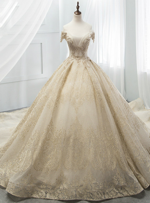 Champagne Tulle Gold Lace Appliques Off The Shoulder Wedding Dress