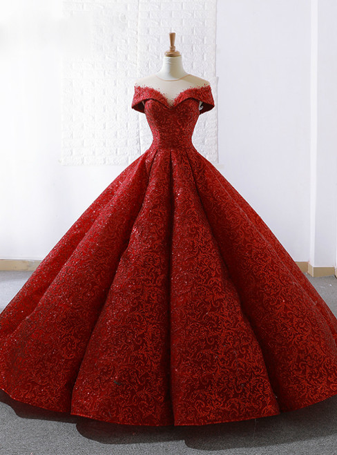 Red Lace Ball Gown See Through Neck Cap Sleeve Wedding Dress