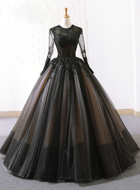 Vintage Black Tulle Lace Long Sleeve Floor Length Wedding Dress