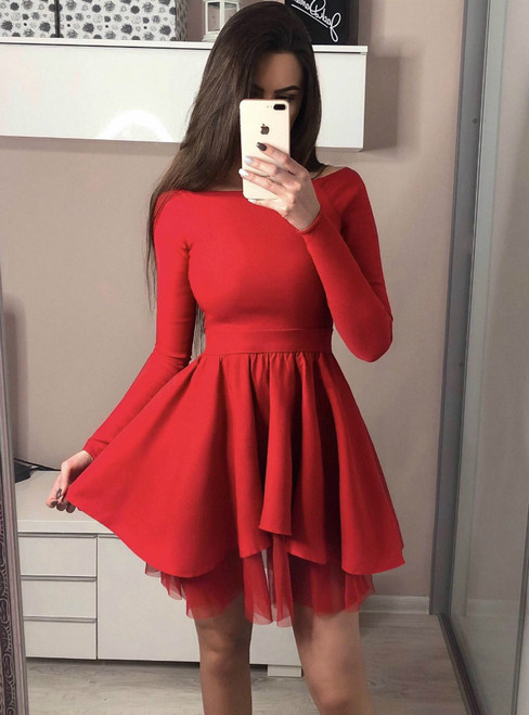 Long Sleeve Red Off the Shoulder Short Homecoming Dresses