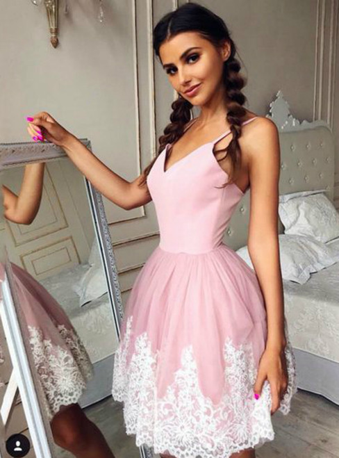 Pink Spaghetti Straps Short Homecoming Dress With Lace