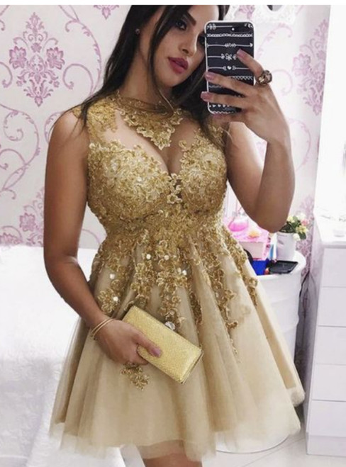Sparkly Gold Lace Tulle Short Homecoming Dress With Appliques