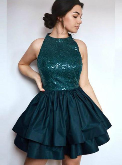 Halter Sleeveless Tiered Dark Green Short Sequins Homecoming Dress