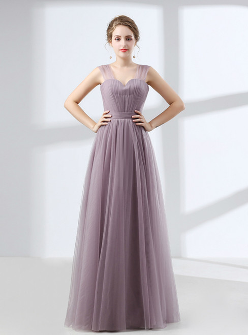 Purple Tulle Straps Backless Pleats Floor Length Prom Dress