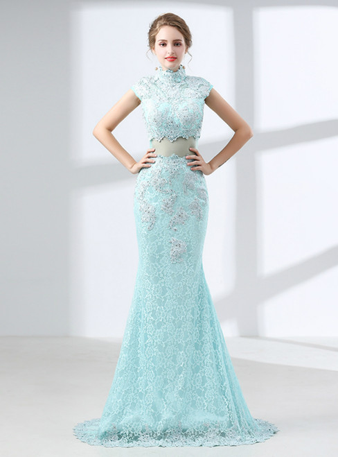 Sexy Blue Lace Mermaid High Neck Cap Sleeve Prom Dress