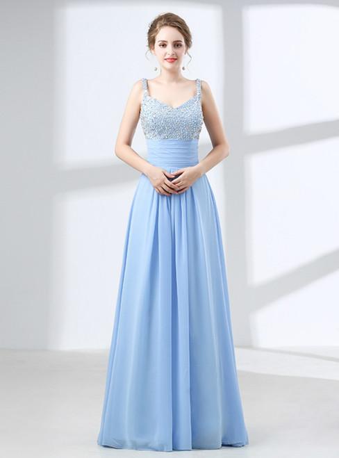 A-Line Blue Chiffon Spaghetti Straps Backless With Beading Prom Dress