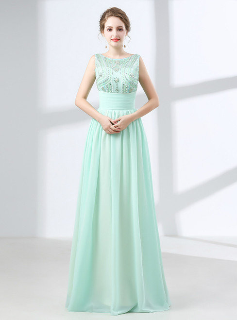 A-Line Green Chiffon Backless Prom Dress With Crystal Bow