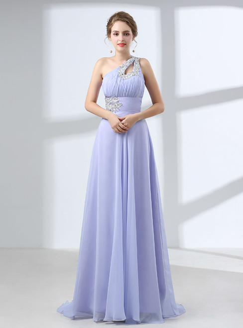 Purple Chiffon One Shoulder Backless With Crystal Prom Dress