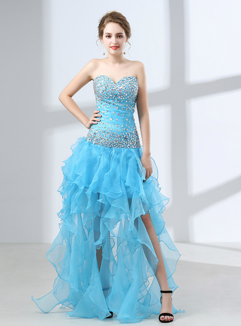 Blue Hi Lo Organza Sweetheart Neck Backless With Crystal Prom Dress