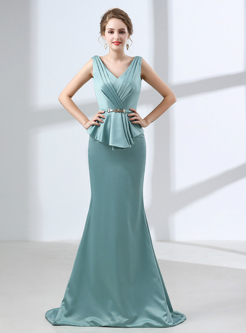Blue Mermaid Satin V-neck Backless Prom Dress With Sash