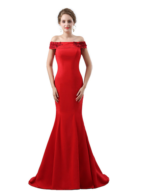Red Mermaid Satin Off The Shoulder Appliques Prom Dress