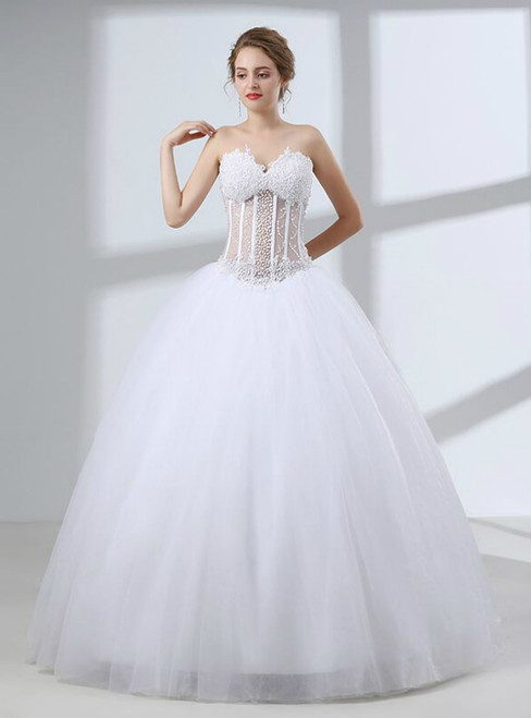 White Ball Gown Tulle Sweetheart Neck Wedding Dress With Sequins