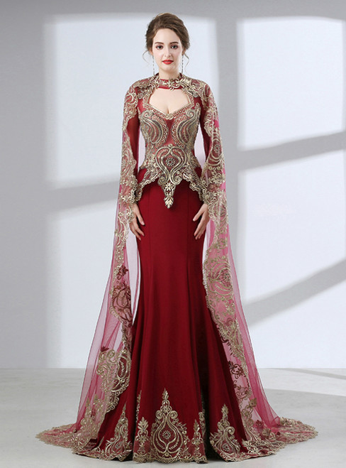 Burgundy Satin Removable Shawl Long Sleeve Appliques Prom Dress