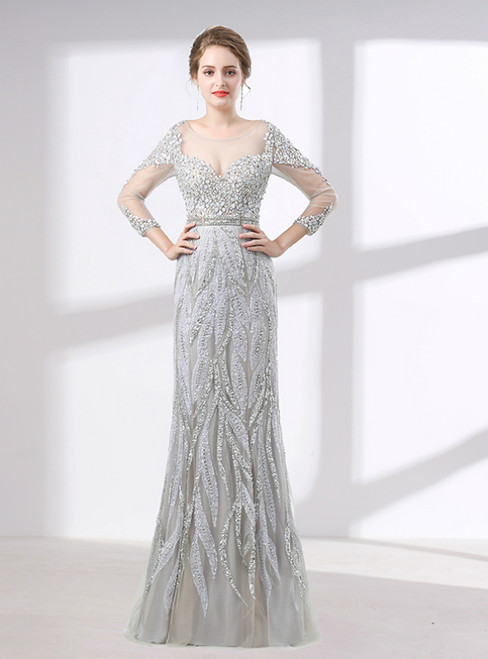 Silver Sheath Long Sleeve With Beading Floor Length Prom Dress