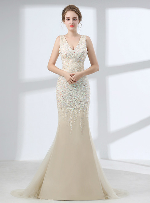 Champagne Mermaid V-neck Backless Prom Dress With Beading