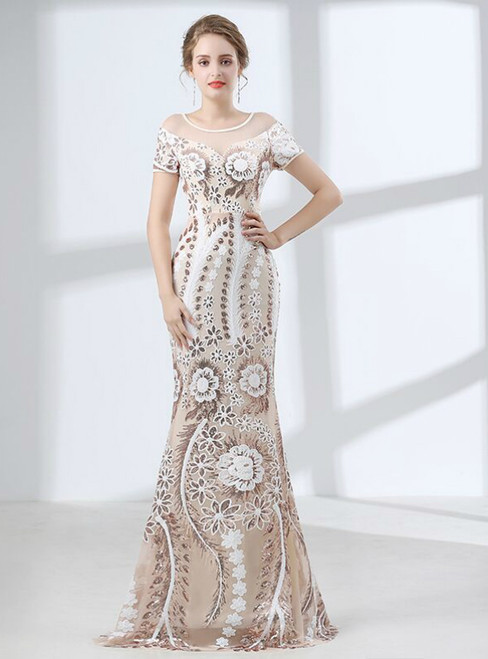 Champagne Tulle Sequins Appliques Floor Length Prom Dress