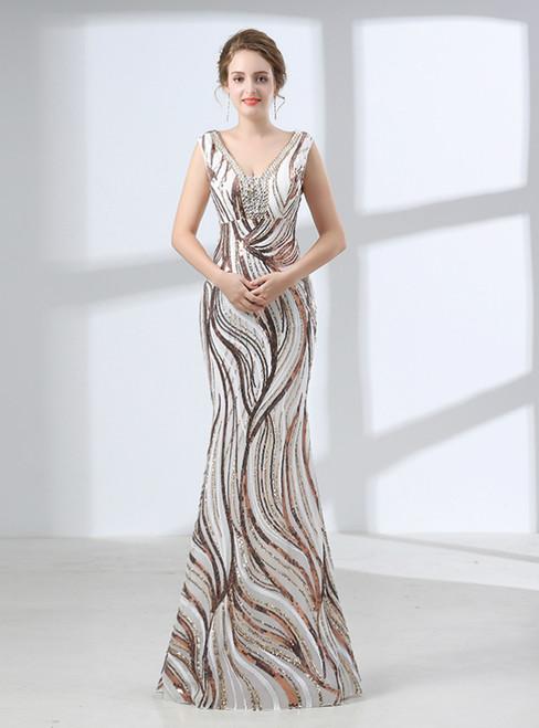 Mermaid Gold Sequins V-neck Backless Floor Length Prom Dress