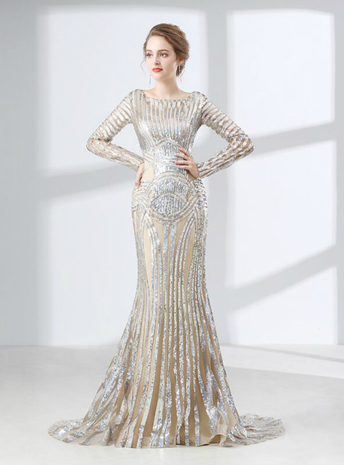 Silver Mermaid Sequins Long Sleeve Floor Length Prom Dress