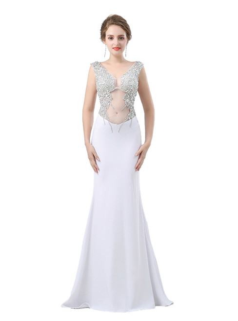 White Mermaid Chiffon V-neck Backless Prom Dress With Crystal