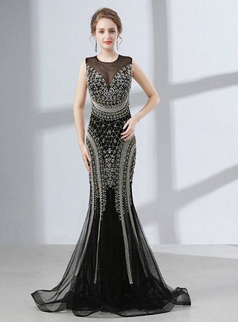 Black Mermaid Backless Tulle Floor Length Prom Dress With Crystal