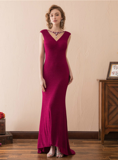 Burgundy Lace Mermaid Backless Cap Sleeve Prom Dress With Beading